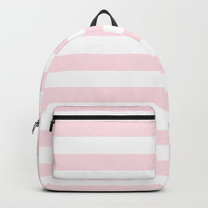 Stripes Pink Flamingo on White Backpack