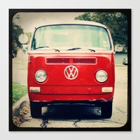 vw bus Canvas Prints featuring Red VW Bus by Anna Dykema Photography