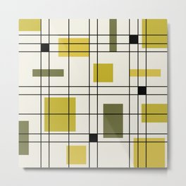 1950's Abstract Art Chartreuse Metal Print