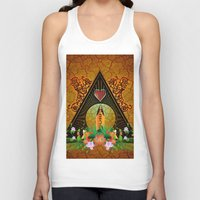 surfboard Tank Tops featuring Surfboard with flowers  by nicky2342