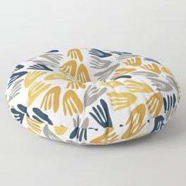 Papier Découpé Modern Abstract Cutout Pattern in Light and Dark Mustard, Navy Blue, Gray, and White  Floor Pillow