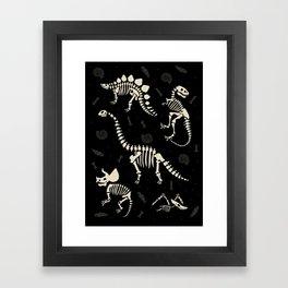 Dinosaur Fossils on Black Framed Art Print