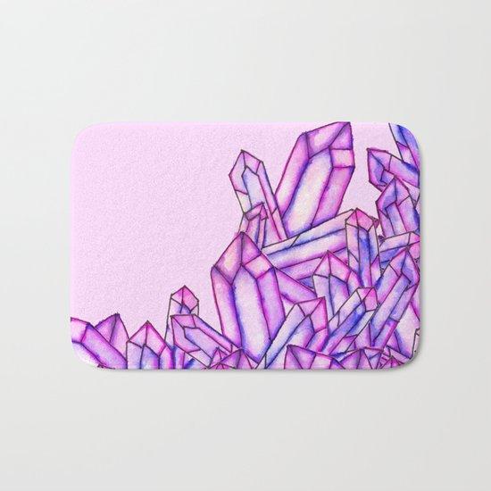 Pink purple watercolor paint crystals gem pattern Bath Mat