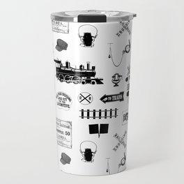 Railroad Symbols on White Travel Mug