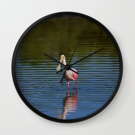 Roseate Spoonbill at Ding I Wall Clock