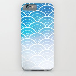 Blue Ombre Japanese Waves Pattern iPhone Case