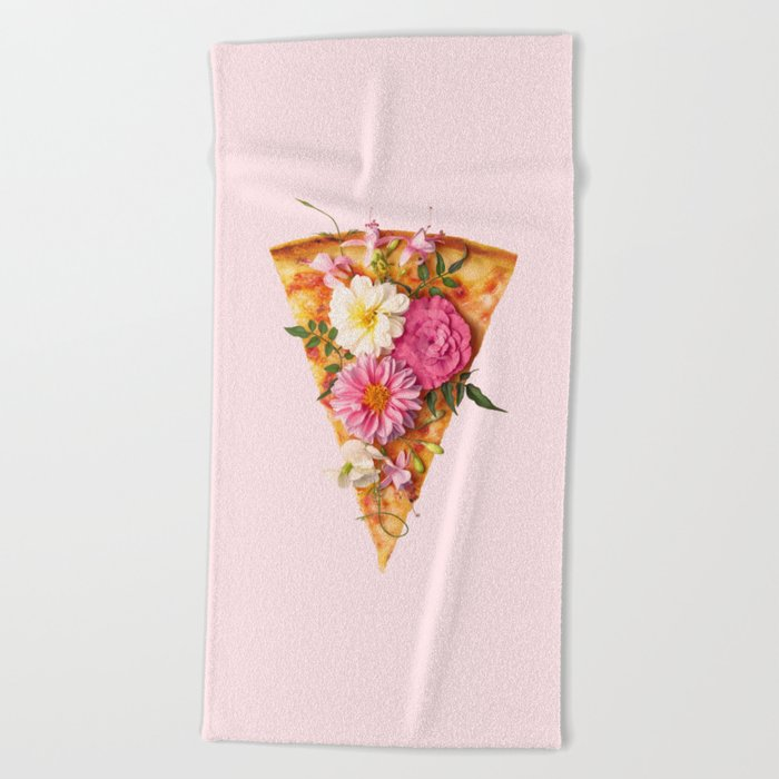 FLORAL PIZZA Beach Towel