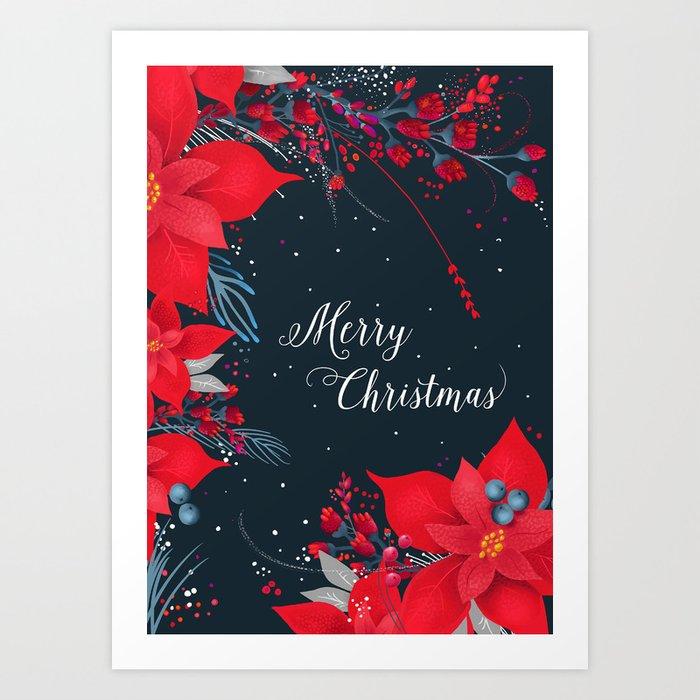 Poinsettia Cluster Merry Christmas Card Art Print