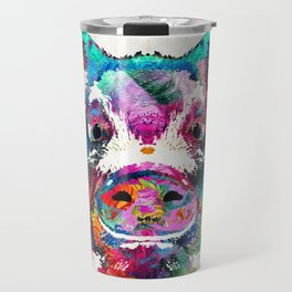 Colorful Pig Art - Squeal Appeal - By Sharon Cummings Travel Mug