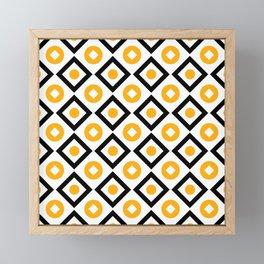Sun yellow pattern of rhombuses and circles Framed Mini Art Print