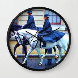 Police Horses Wall Clock