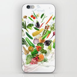 Healthy Food with water splash on white background iPhone Skin