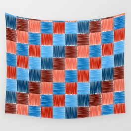 background squares blue red embroidery Wall Tapestry