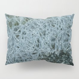 Ice pattern, frost decorating little stream of water Pillow Sham