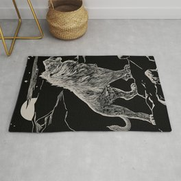 The animal story book Andrew Lang - 1904 Black & White Ink Lion Magical Mystical Animal Art Rug