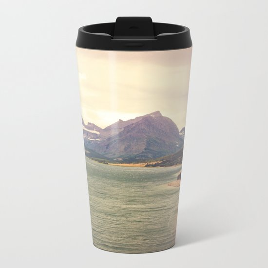 Retro Mountain Lake Metal Travel Mug