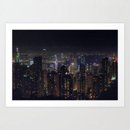Hongkong Skyline at night Art Print