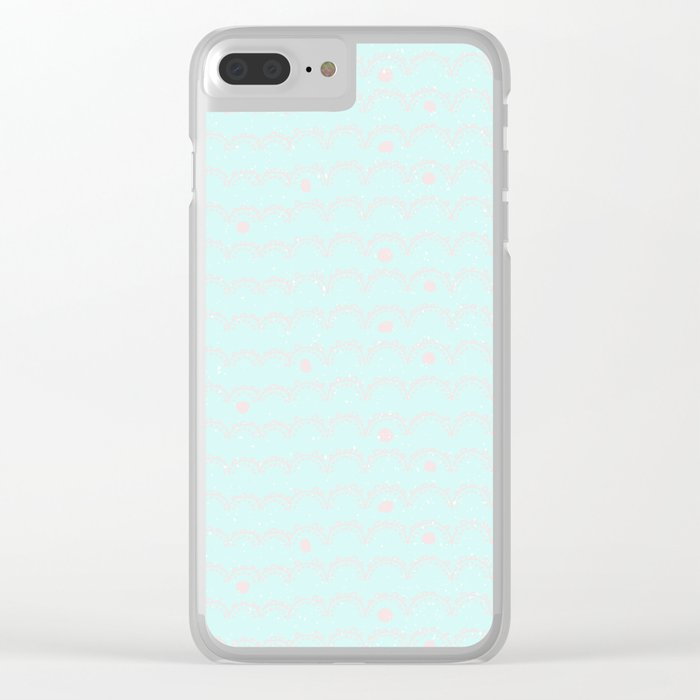 Merry aqua christmas - Funny abstract lines and dots on turquoise  backround Clear iPhone Case