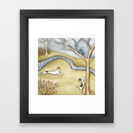 Dog squirrel landscape painting GET IT! original art Framed Art Print