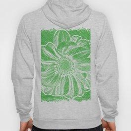 White Flower On Tech Green Crayon Hoody