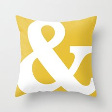 Ampersand Mustard Yellow Throw Pillow