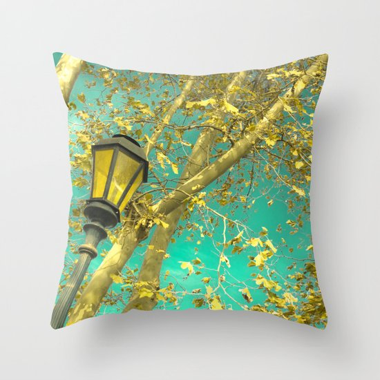 Autumn Gold Leafs in Turquoise Sky  Throw Pillow