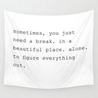 alone Wall Tapestries featuring Alone by Noura Aljarbou