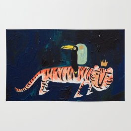 Tiger, Cheetah, Toucan Painting Rug