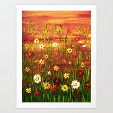 Flowers in the sunrise Art Print