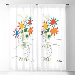 Picasso le bouquet colorful floral positive wall art, anti war print, room decor, picasso Blackout Curtain