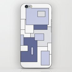 Squares -  gray, blue and white. iPhone & iPod Skin