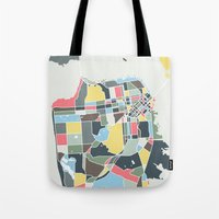 san francisco map Tote Bags featuring San Francisco. by Studio Tesouro