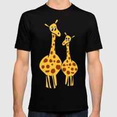Two Giraffes SMALL Black Mens Fitted Tee