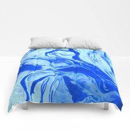 Teal watercolor marble Comforters