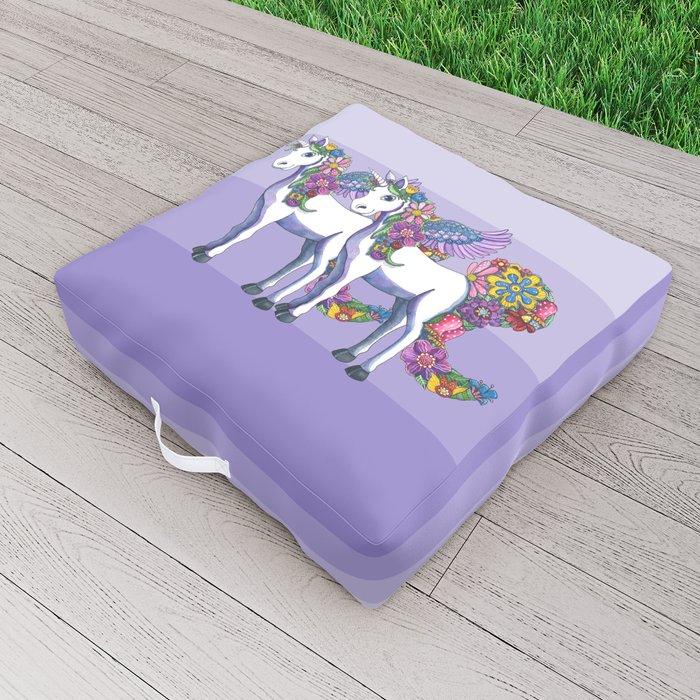 Unicorn Twins Outdoor Floor Cushion