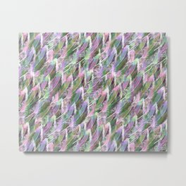 Feather Fancy — Soft Greens • Pinks • Voilets Metal Print