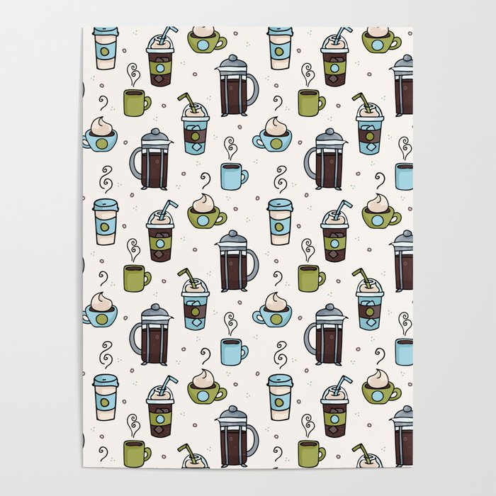 Vector coffee seamless repeat pattern illustration different caffeine drinks Poster