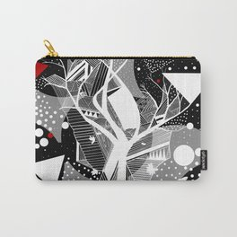 black and white abstract with touch of red Carry-All Pouch
