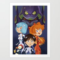 evangelion Art Prints featuring Evangelion by Sara Michieli