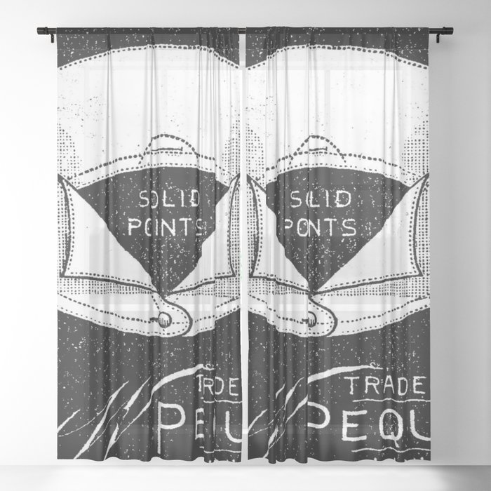 Black And White Vintage Shirt Collar Retro Laundry Room Sheer Curtain By Chicelegantboutique
