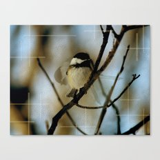 Black Capped Chickadee in motion with speckles Canvas Print