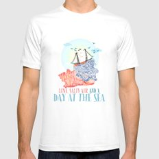 A Day at the Sea MEDIUM White Mens Fitted Tee