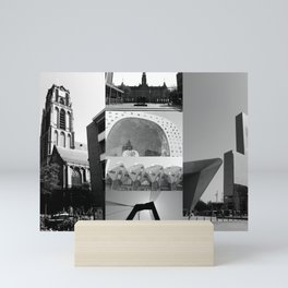 Photo collage Rotterdam 1 in black and white Mini Art Print