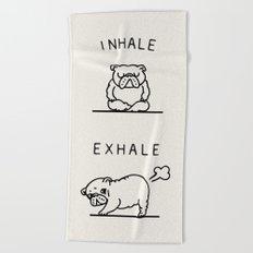 Inhale Exhale English Bulldog Beach Towel