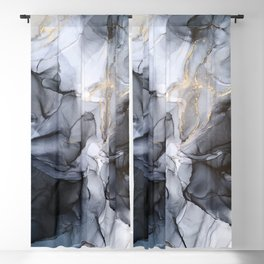 Calm but Dramatic Light Monochromatic Black & Grey Abstract Blackout Curtain