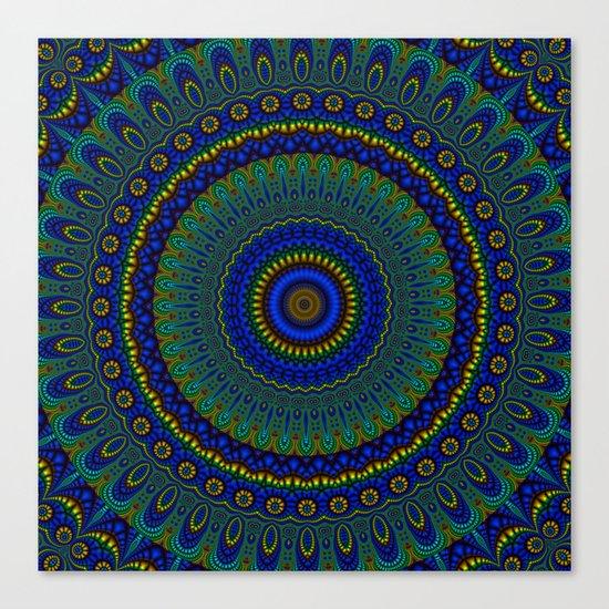 blue yellow mandala Canvas Print