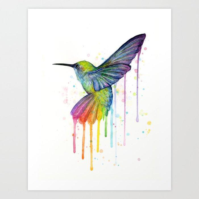 Hummingbird Rainbow Watercolor Kunstdrucke