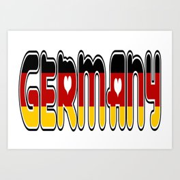 Germany Font #2 with German Flag Art Print