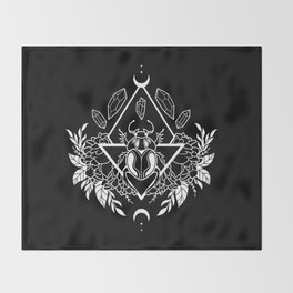 Scarab Queen // B&W 02 Throw Blanket