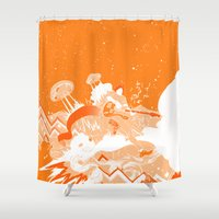 ufo Shower Curtains featuring UFO Fighter by Yiche Feng